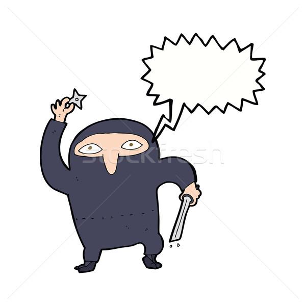 Cartoon ninja tekstballon hand ontwerp kunst Stockfoto © lineartestpilot