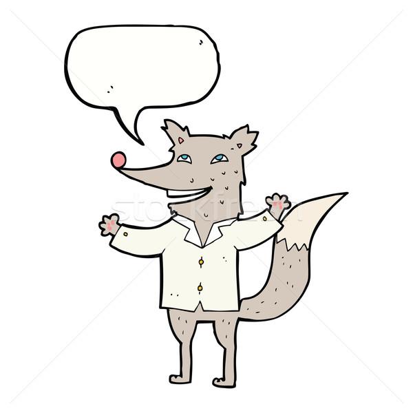 Cartoon счастливым волка рубашку речи пузырь Сток-фото © lineartestpilot