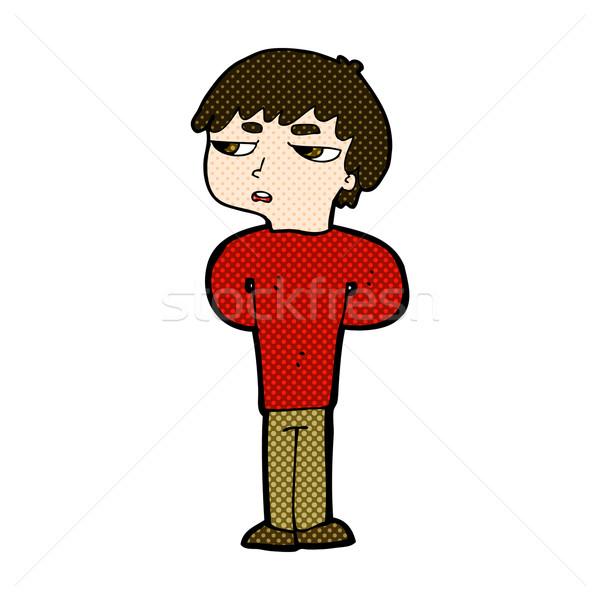 comic cartoon antisocial boy Stock photo © lineartestpilot