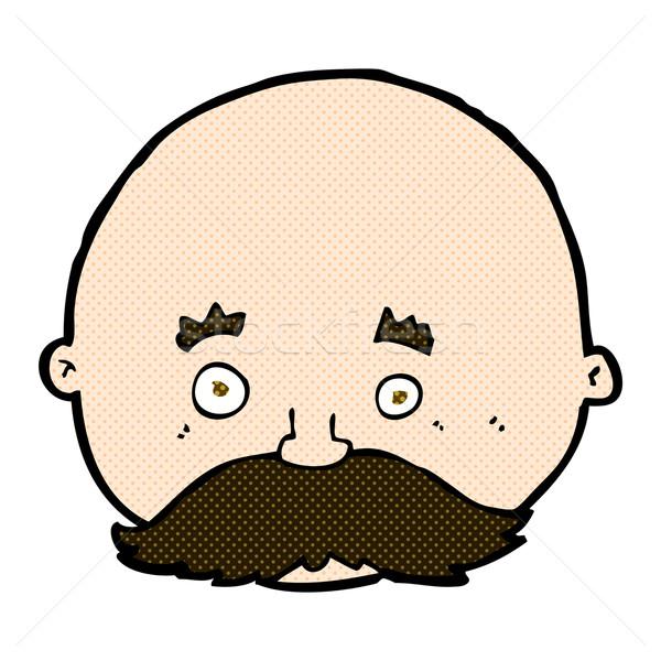 Komische cartoon kaal man snor retro Stockfoto © lineartestpilot
