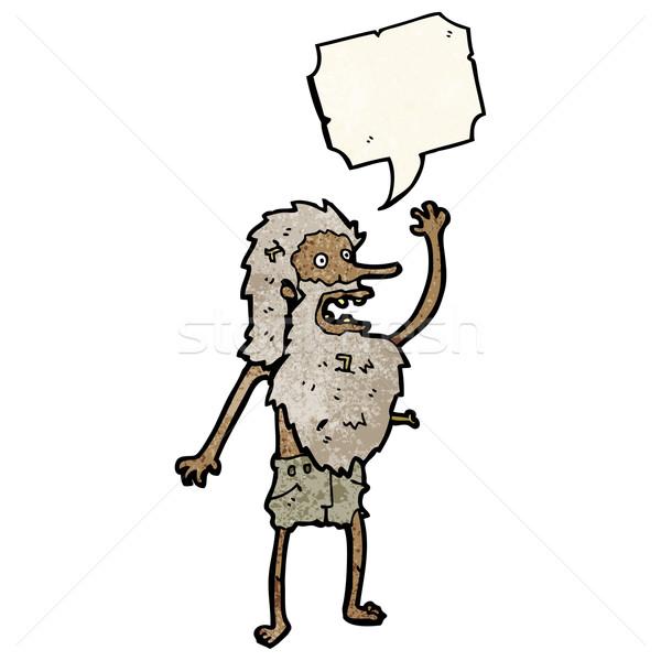 Karikatür adam Retro evsiz çılgın çizim Stok fotoğraf © lineartestpilot
