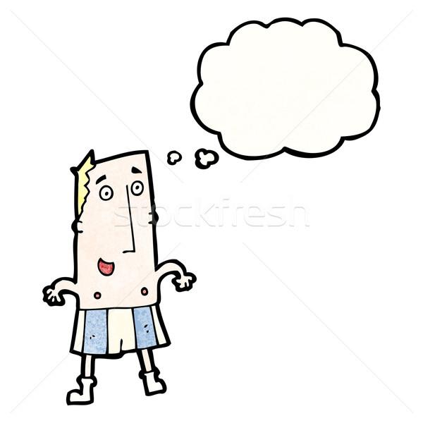 Cartoon człowiek bokser szorty retro rysunek Zdjęcia stock © lineartestpilot