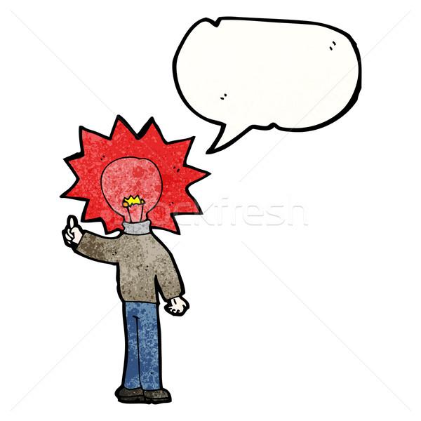Cartoon człowiek czerwone światło żarówki głowie retro Zdjęcia stock © lineartestpilot