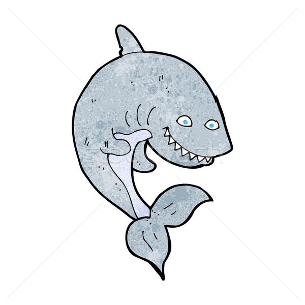 Desenho animado tubarão projeto arte retro engraçado Foto stock © lineartestpilot