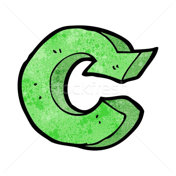 desenho animado reciclagem símbolo mão projeto louco