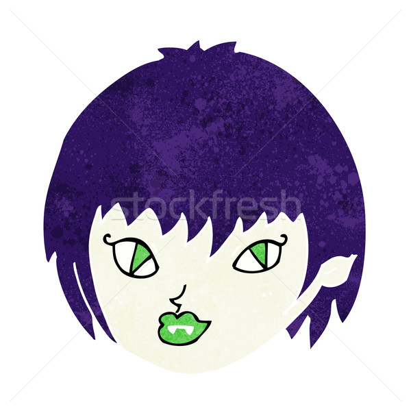 Cartoon vampire fille visage main design Photo stock © lineartestpilot