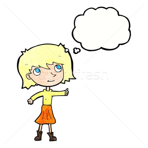 Cartoon niña feliz burbuja de pensamiento nina mano diseno Foto stock © lineartestpilot