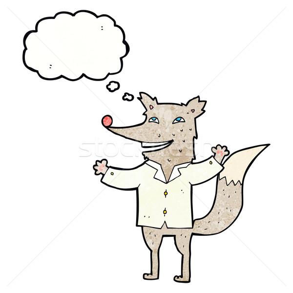 Karikatur glücklich Wolf tragen Shirt Gedankenblase Stock foto © lineartestpilot