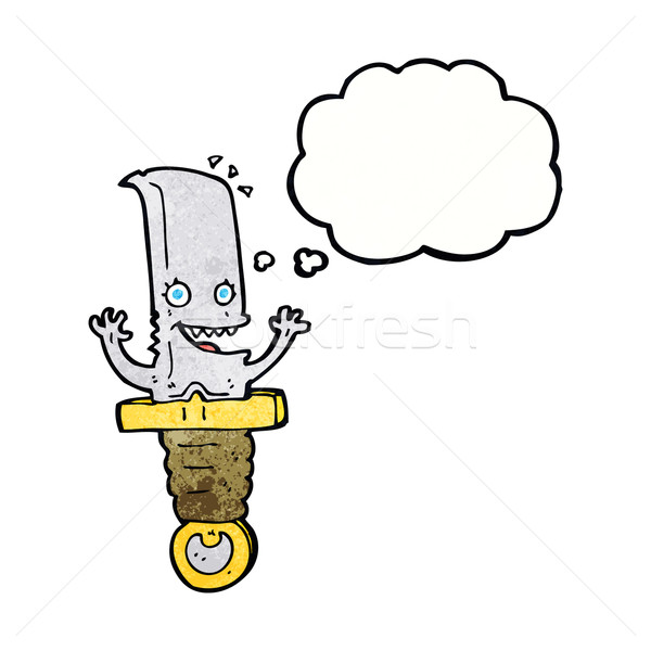 crazy cartoon knife character with thought bubble Stock photo © lineartestpilot