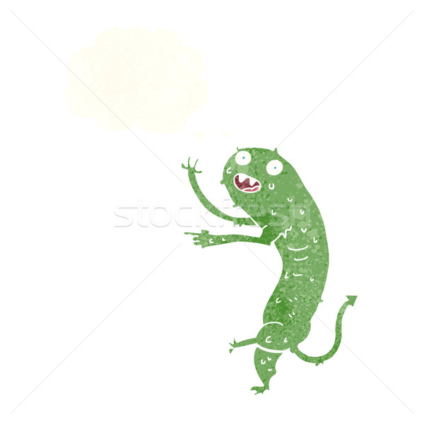 cartoon gross little monster with thought bubble Stock photo © lineartestpilot