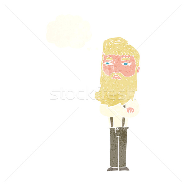 Karikatür ciddi adam sakal düşünce balonu el Stok fotoğraf © lineartestpilot