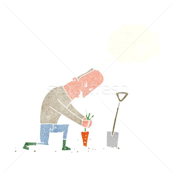 Cartoon ogrodnik bubble myśl strony człowiek projektu Zdjęcia stock © lineartestpilot