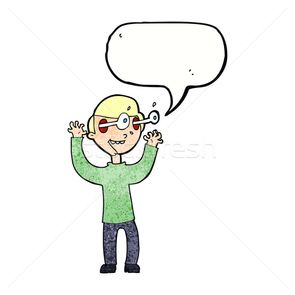 cartoon man with popping out eyes with speech bubble Stock photo © lineartestpilot