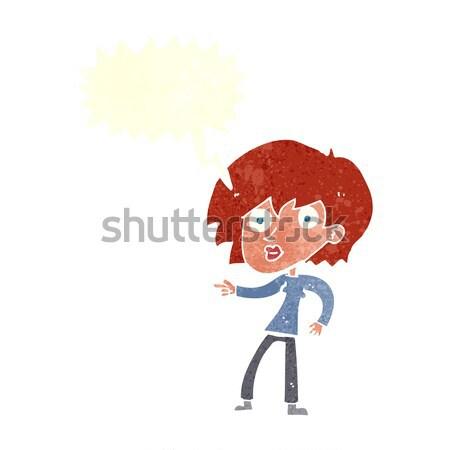 Cartoon étonné femme pointant bulle main Photo stock © lineartestpilot