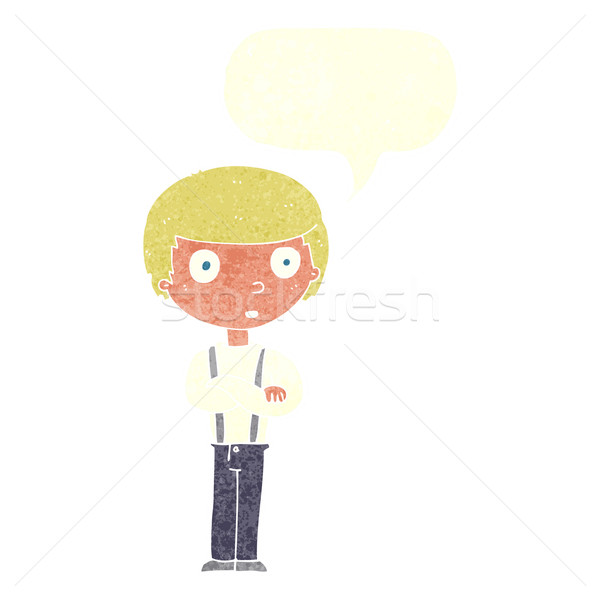 cartoon staring boy with folded arms with speech bubble Stock photo © lineartestpilot