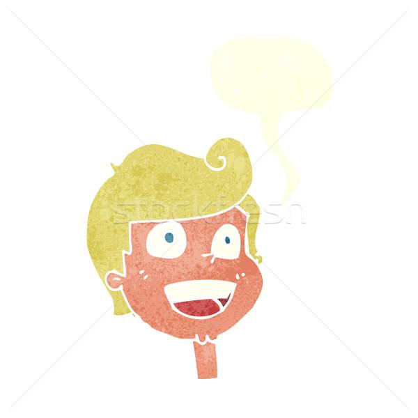 Cartoon blij gezicht tekstballon hand gezicht ontwerp Stockfoto © lineartestpilot