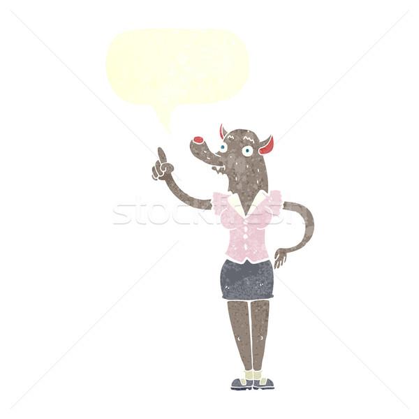 漫画 狼 女性 アイデア 吹き出し 手 ストックフォト © lineartestpilot