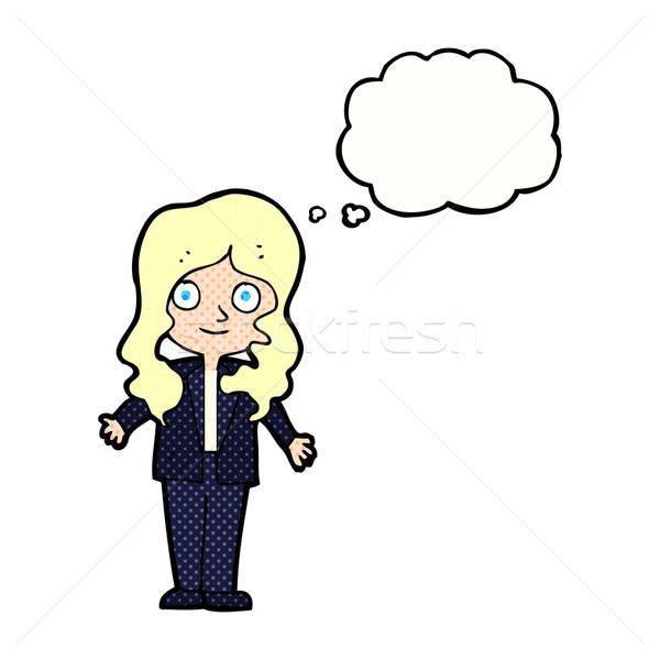 Cartoon дружественный деловой женщины мысли пузырь женщину стороны Сток-фото © lineartestpilot