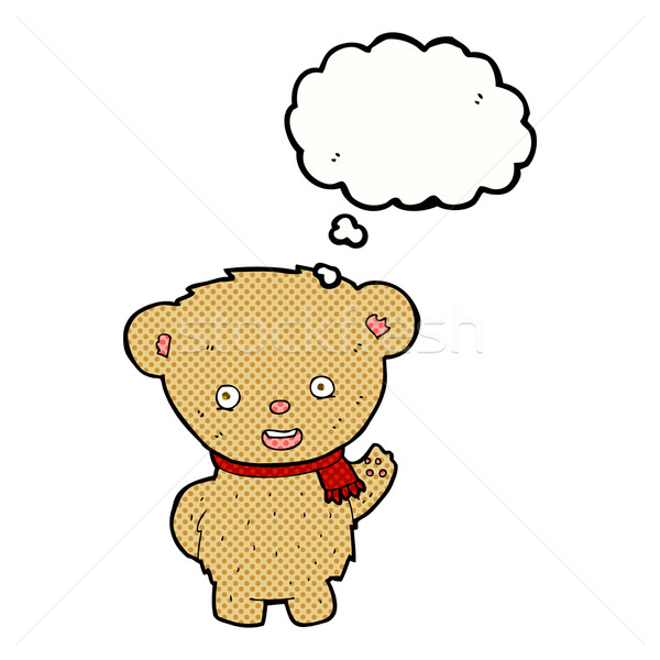 cartoon teddy bear waving with thought bubble Stock photo © lineartestpilot