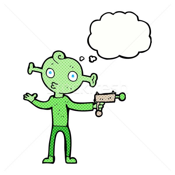 Desenho animado alienígena pistola balão de pensamento mão projeto Foto stock © lineartestpilot