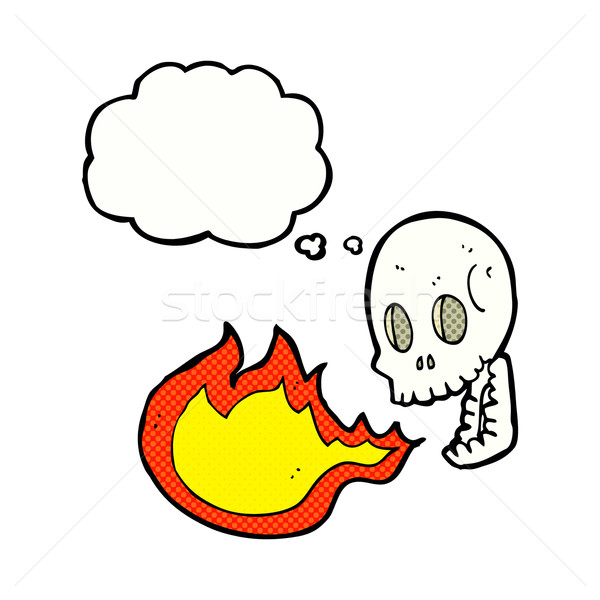 cartoon fire breathing skull with thought bubble Stock photo © lineartestpilot
