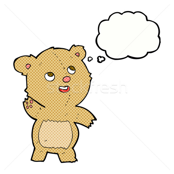 cartoon cute waving teddy bear with thought bubble Stock photo © lineartestpilot