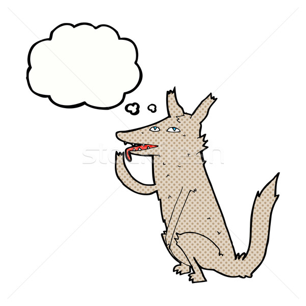 Rajz farkas mancs gondolatbuborék kéz terv Stock fotó © lineartestpilot