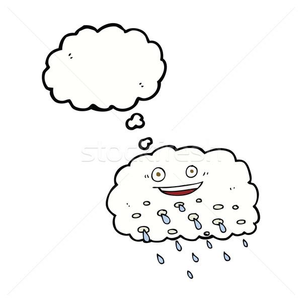 Cartoon deszcz Chmura bubble myśl strony projektu Zdjęcia stock © lineartestpilot