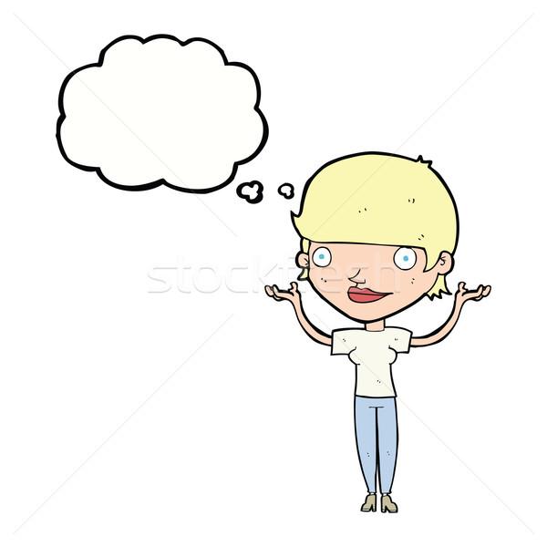 Desenho animado mulher brasão ar balão de pensamento Foto stock © lineartestpilot