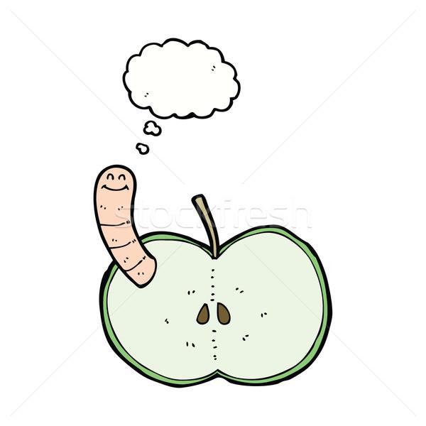Cartoon яблоко червя мысли пузырь стороны дизайна Сток-фото © lineartestpilot