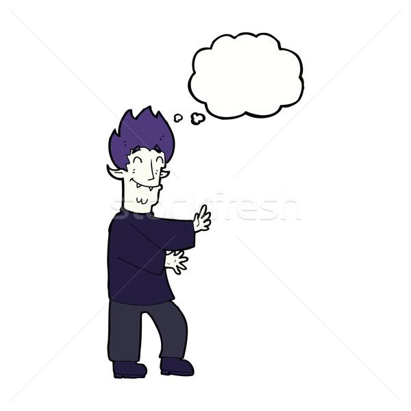 Cartoon eccitato vampiro bolla di pensiero mano uomo Foto d'archivio © lineartestpilot