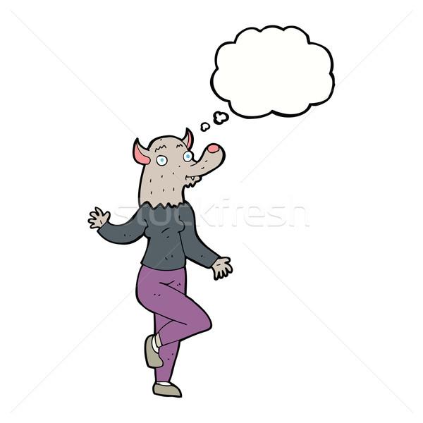 Cartoon танцы оборотень женщину мысли пузырь стороны Сток-фото © lineartestpilot