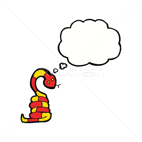 Rajz kígyó gondolatbuborék kéz terv őrült Stock fotó © lineartestpilot