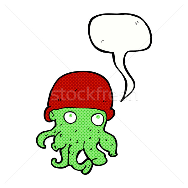 cartoon alien head wearing hat with speech bubble Stock photo © lineartestpilot