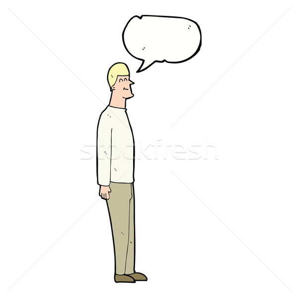 cartoon tall man with speech bubble Stock photo © lineartestpilot
