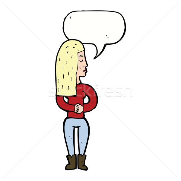cartoon woman ignoring with speech bubble Stock photo © lineartestpilot