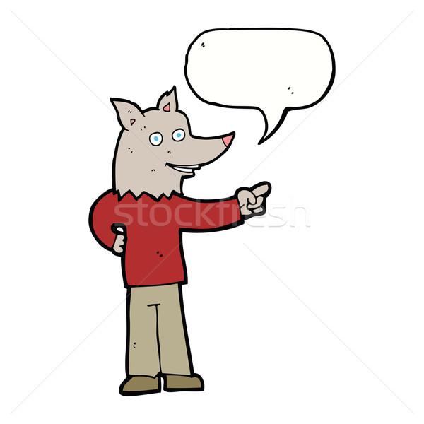 Karikatur Wolf Mann Hinweis Sprechblase Hand Stock foto © lineartestpilot