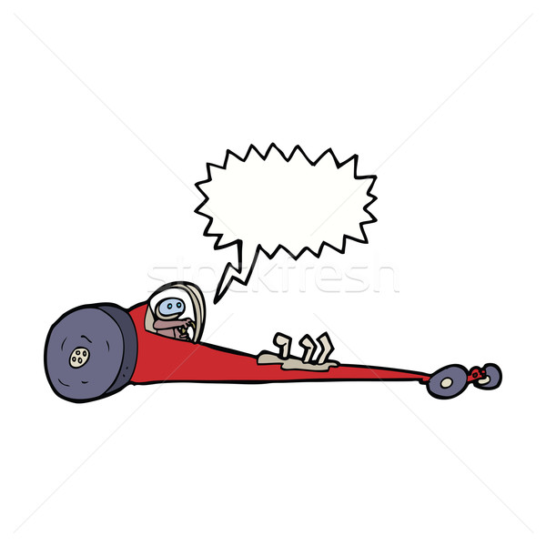 cartoon drag racer with speech bubble Stock photo © lineartestpilot