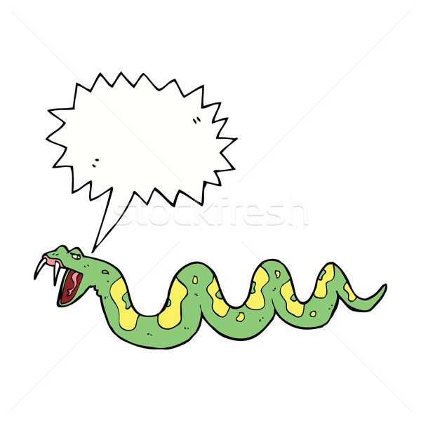 Cartoon toxique serpent bulle main design Photo stock © lineartestpilot