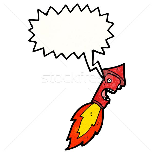 Cartoon vuurwerk praten retro tekening schreeuwen Stockfoto © lineartestpilot