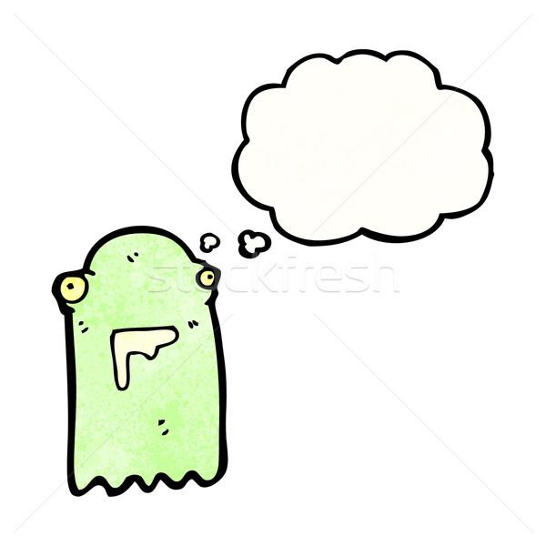 Foto stock: Verde · fantasma · desenho · animado · falante · retro · pensando
