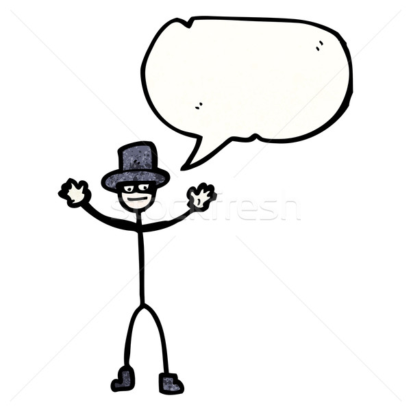 stick man with top hat and speech bubble Stock photo © lineartestpilot