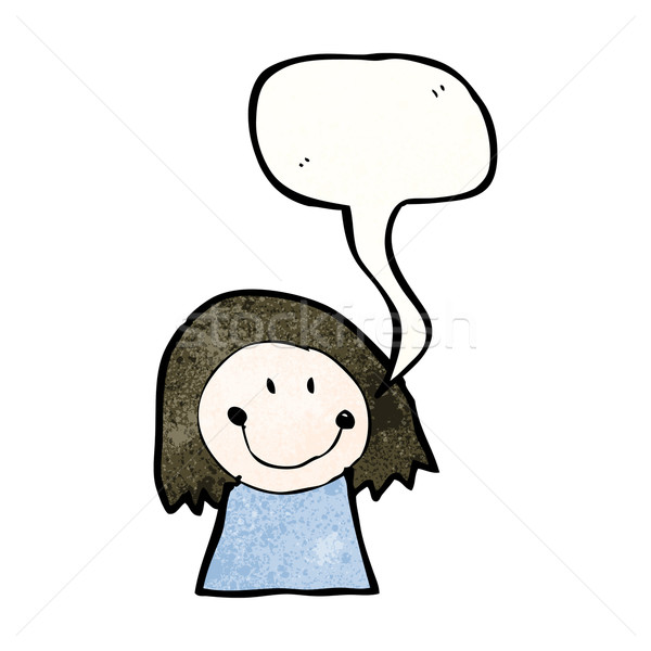 child's drawing of a woman with speech bubble Stock photo © lineartestpilot