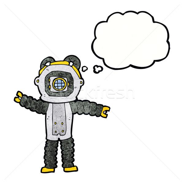 Cartoon głęboko morza nurek bubble myśl strony Zdjęcia stock © lineartestpilot