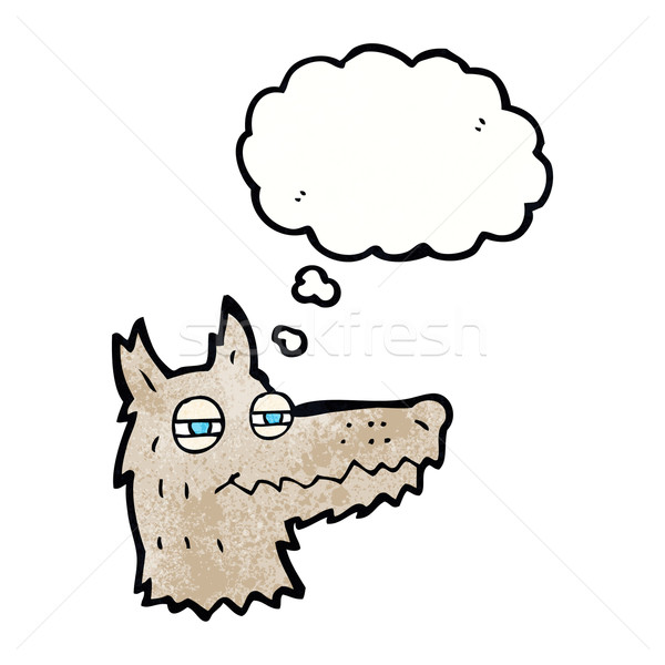 cartoon smug wolf face with thought bubble Stock photo © lineartestpilot