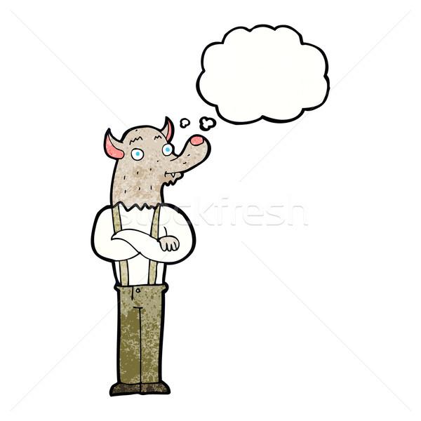 Karikatür dostça kurt adam düşünce balonu el adam Stok fotoğraf © lineartestpilot
