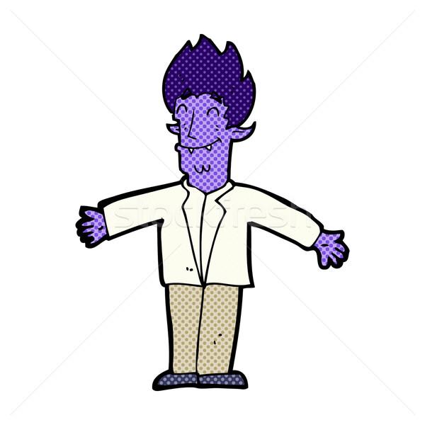 Cômico desenho animado feliz vampiro retro Foto stock © lineartestpilot