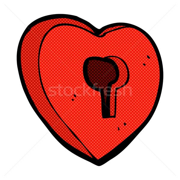 comic cartoon heart with keyhole Stock photo © lineartestpilot