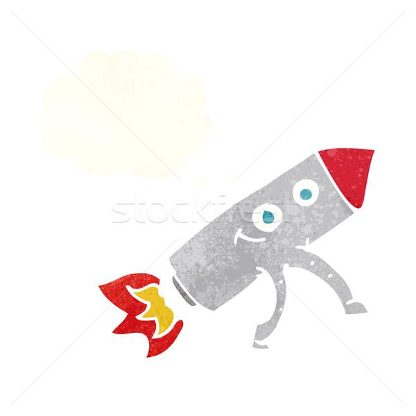 Cartoon feliz cohete burbuja de pensamiento mano cara Foto stock © lineartestpilot