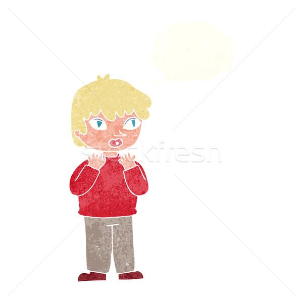 Cartoon persona bolla di pensiero donna mano Foto d'archivio © lineartestpilot